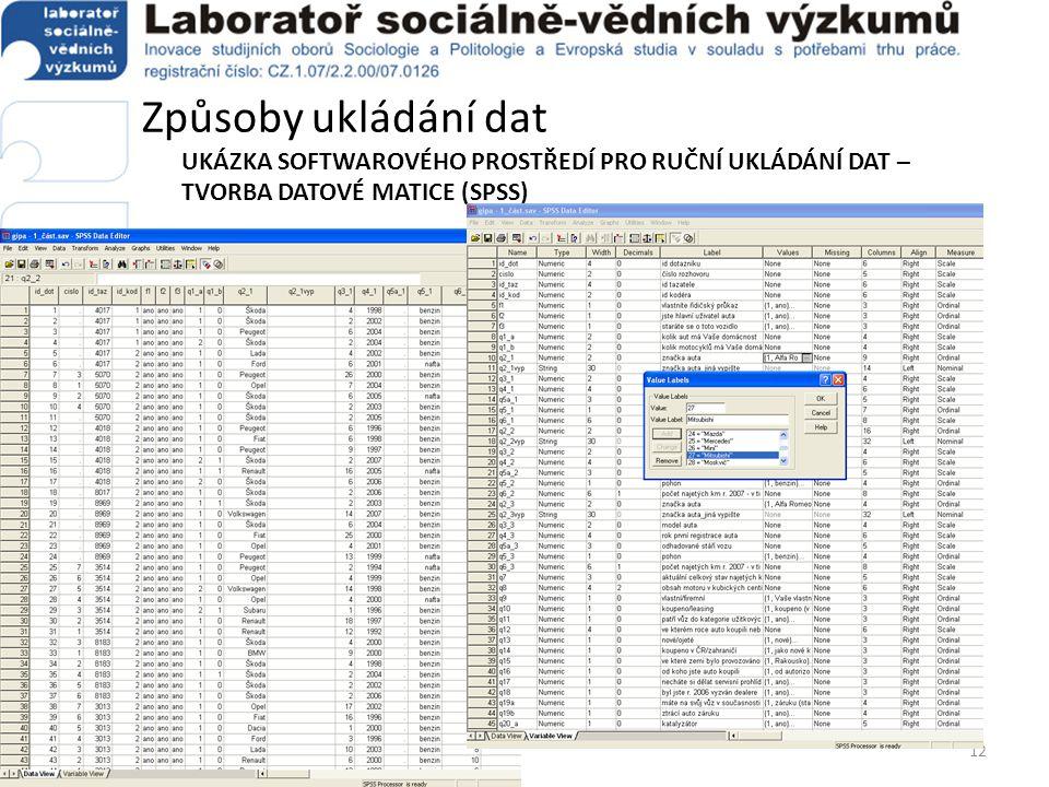 Způsoby ukládání dat UKÁZKA SOFTWAROVÉHO PROSTŘEDÍ PRO RUČNÍ UKLÁDÁNÍ DAT – TVORBA DATOVÉ MATICE (SPSS) 12