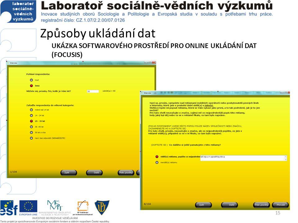 Způsoby ukládání dat UKÁZKA SOFTWAROVÉHO PROSTŘEDÍ PRO ONLINE UKLÁDÁNÍ DAT (FOCUSIS ) 15