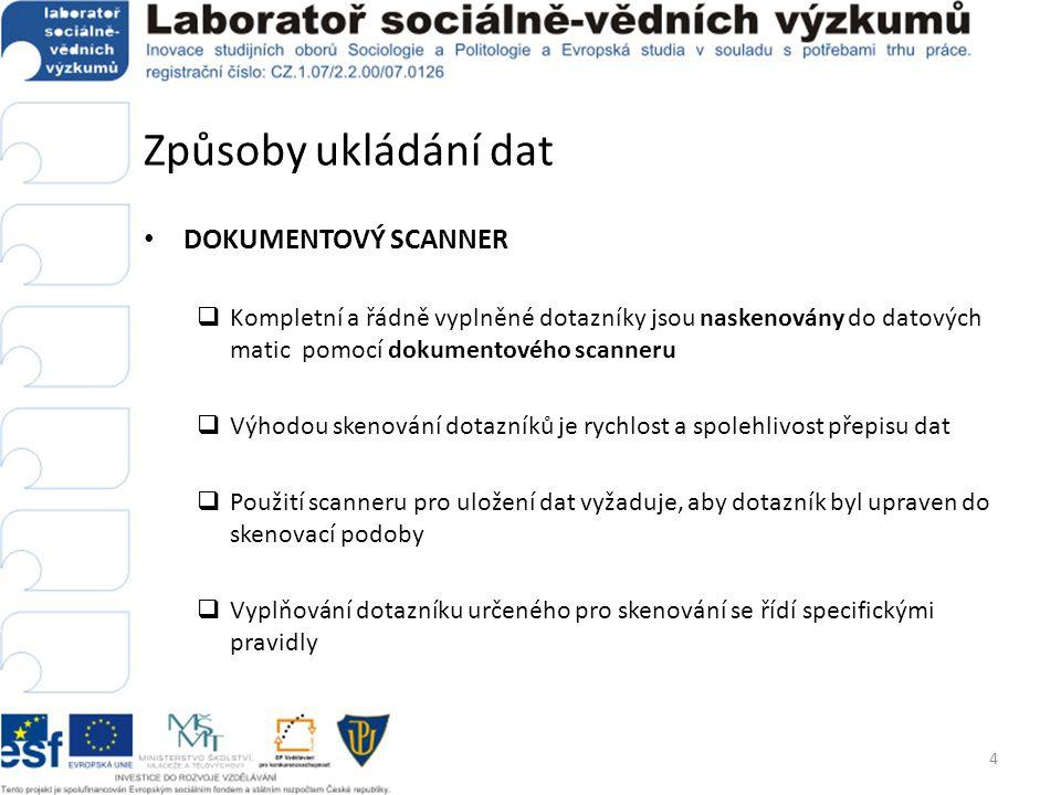 Způsoby ukládání dat  Postup práce s dokumentovým scannerem 1.Zalomení dotazníku do skenovací podoby 2.Tisk dotazníku 3.Naskenování prázdného dotazníku 4.Vytvoření datové matice na základě naskenovaného dotazníku i.vyznačení oblastí (polí) pro čtení dat ii.definice proměnných, jejich hodnot, labelů atd.
