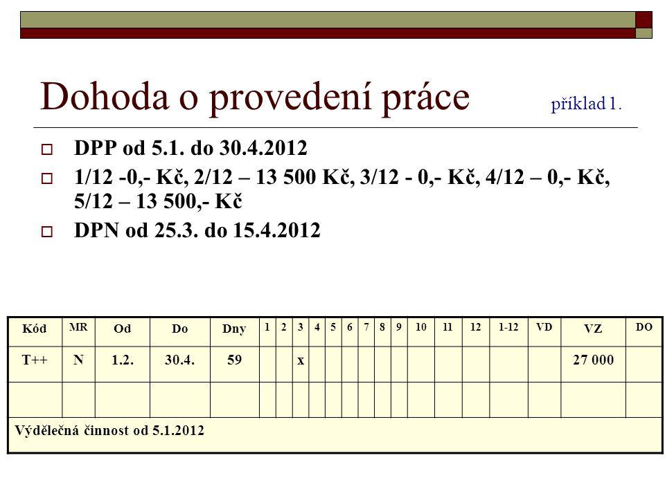 Dohoda o provedení práce příklad 1.  DPP od 5.1. do 30.4.2012  1/12 -0,- Kč, 2/12 – 13 500 Kč, 3/12 - 0,- Kč, 4/12 – 0,- Kč, 5/12 – 13 500,- Kč  DP