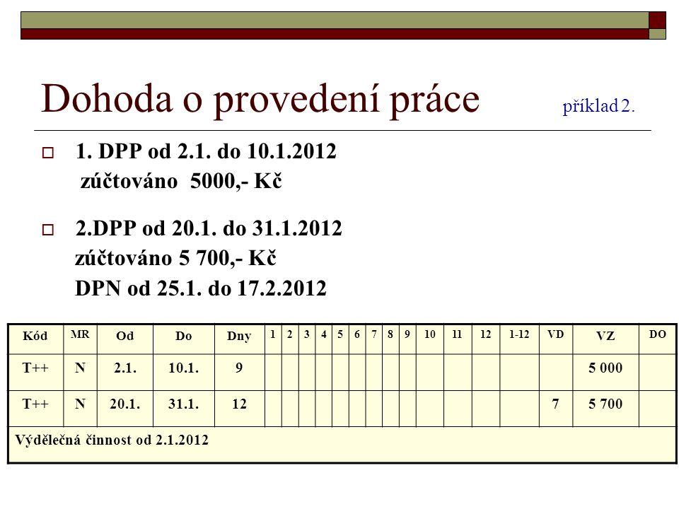 Dohoda o provedení práce příklad 2.  1. DPP od 2.1. do 10.1.2012 zúčtováno 5000,- Kč  2.DPP od 20.1. do 31.1.2012 zúčtováno 5 700,- Kč DPN od 25.1.