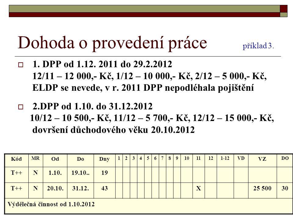 Dohoda o provedení práce příklad 3.  1. DPP od 1.12. 2011 do 29.2.2012 12/11 – 12 000,- Kč, 1/12 – 10 000,- Kč, 2/12 – 5 000,- Kč, ELDP se nevede, v