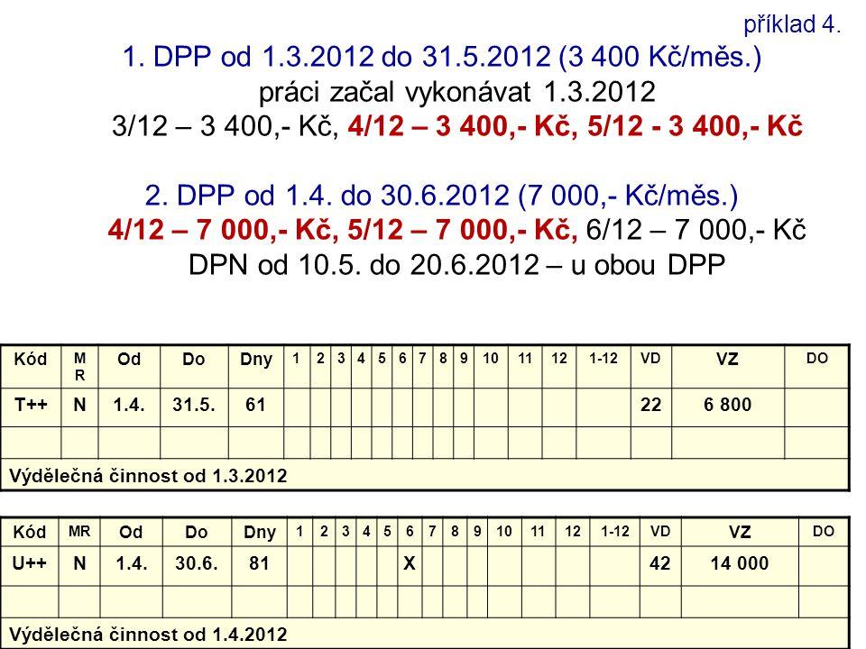 příklad 4. 1. DPP od 1.3.2012 do 31.5.2012 (3 400 Kč/měs.) práci začal vykonávat 1.3.2012 3/12 – 3 400,- Kč, 4/12 – 3 400,- Kč, 5/12 - 3 400,- Kč 2. D