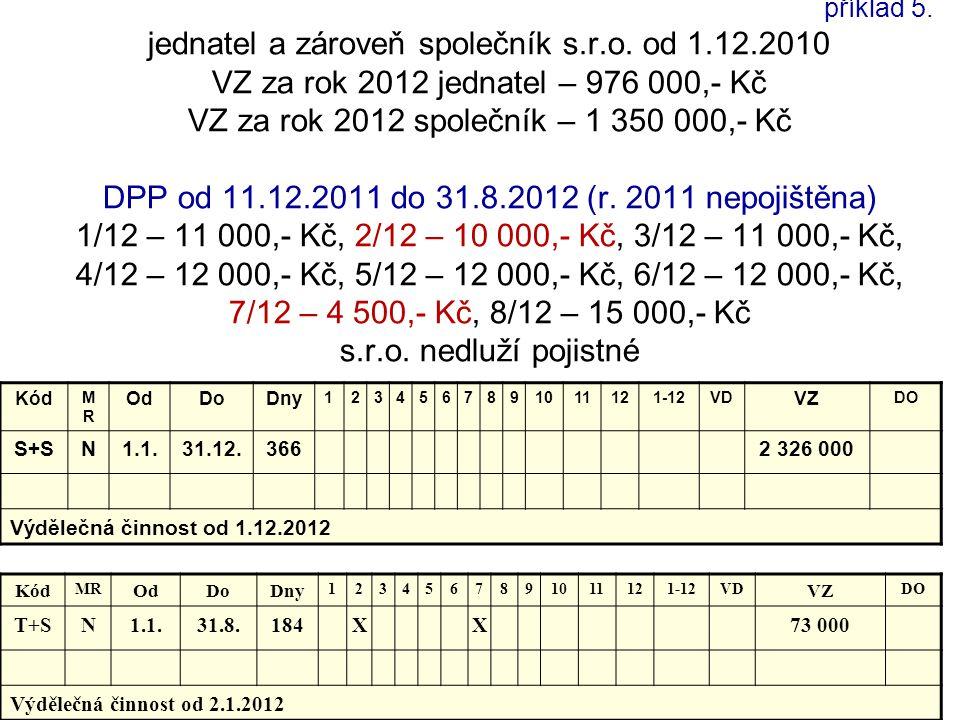 příklad 5. jednatel a zároveň společník s.r.o. od 1.12.2010 VZ za rok 2012 jednatel – 976 000,- Kč VZ za rok 2012 společník – 1 350 000,- Kč DPP od 11