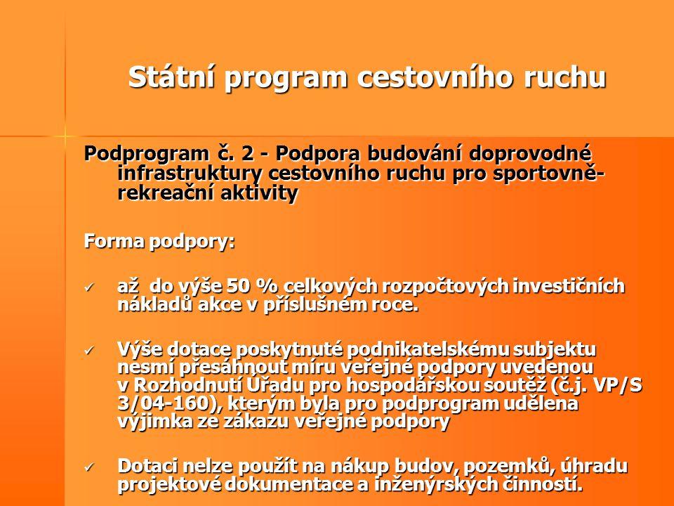 Státní program cestovního ruchu Podprogram č. 2 - Podpora budování doprovodné infrastruktury cestovního ruchu pro sportovně- rekreační aktivity Forma