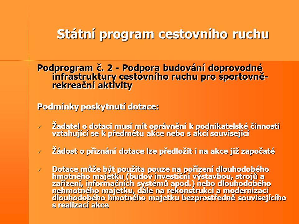 Státní program cestovního ruchu Podprogram č. 2 - Podpora budování doprovodné infrastruktury cestovního ruchu pro sportovně- rekreační aktivity Podmín