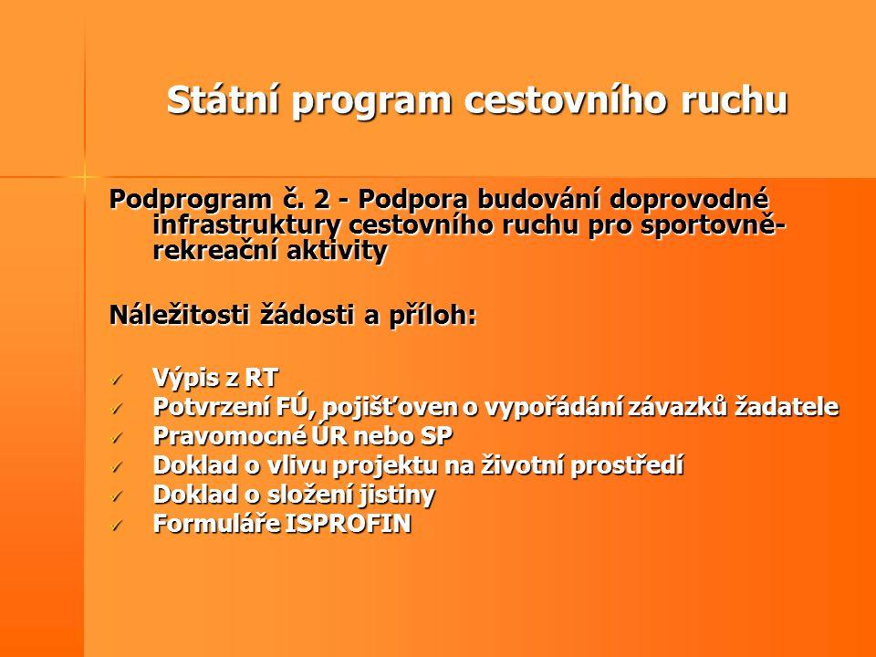 Státní program cestovního ruchu Podprogram č. 2 - Podpora budování doprovodné infrastruktury cestovního ruchu pro sportovně- rekreační aktivity Náleži
