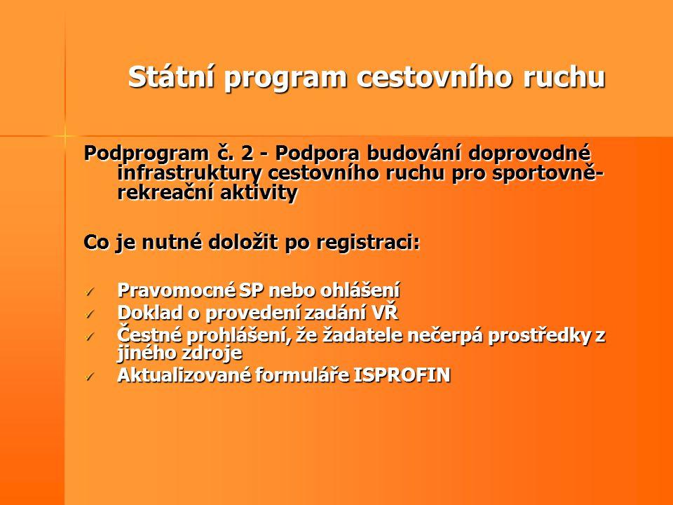 Státní program cestovního ruchu Podprogram č. 2 - Podpora budování doprovodné infrastruktury cestovního ruchu pro sportovně- rekreační aktivity Co je