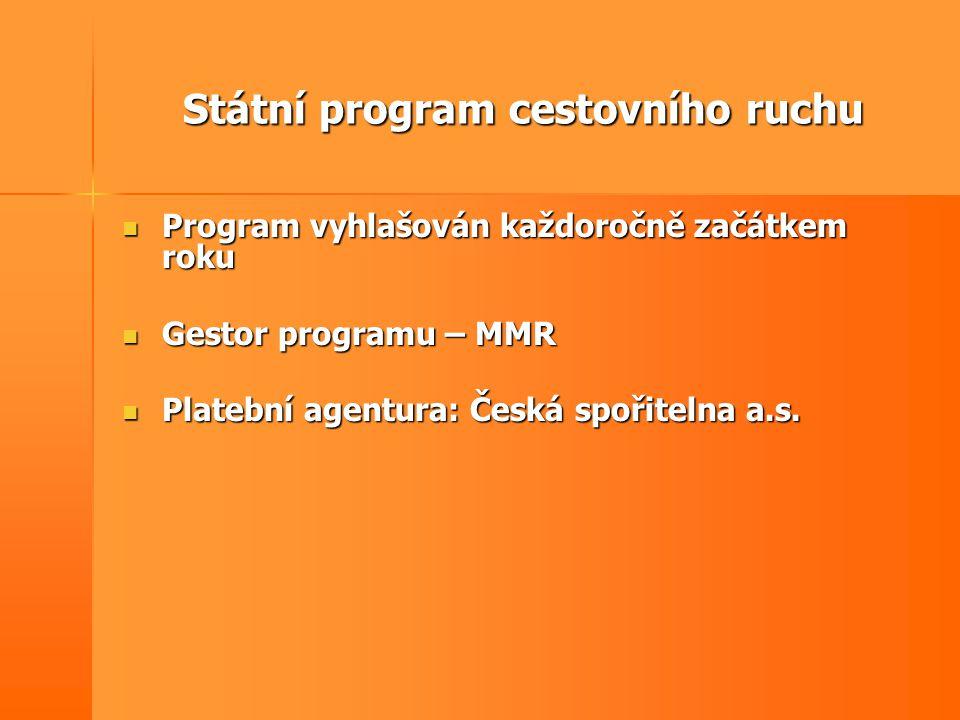 Státní program cestovního ruchu Členění programu:  Podprogram č.