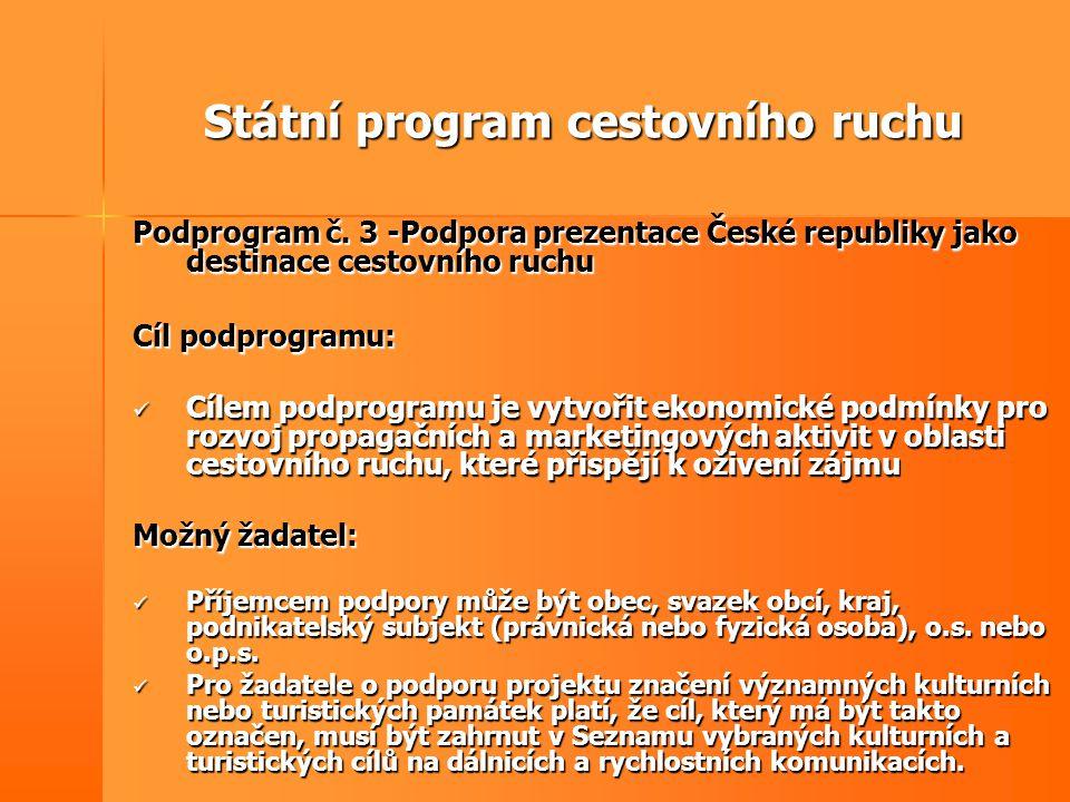Státní program cestovního ruchu Podprogram č. 3 -Podpora prezentace České republiky jako destinace cestovního ruchu Cíl podprogramu:  Cílem podprogra