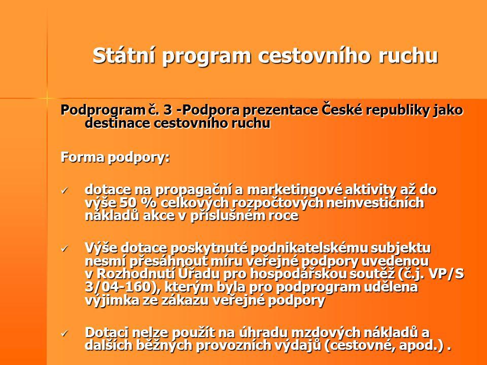 Státní program cestovního ruchu Podprogram č. 3 -Podpora prezentace České republiky jako destinace cestovního ruchu Forma podpory:  dotace na propaga