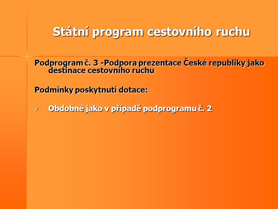 Státní program cestovního ruchu Podprogram č. 3 -Podpora prezentace České republiky jako destinace cestovního ruchu Podmínky poskytnutí dotace:  Obdo