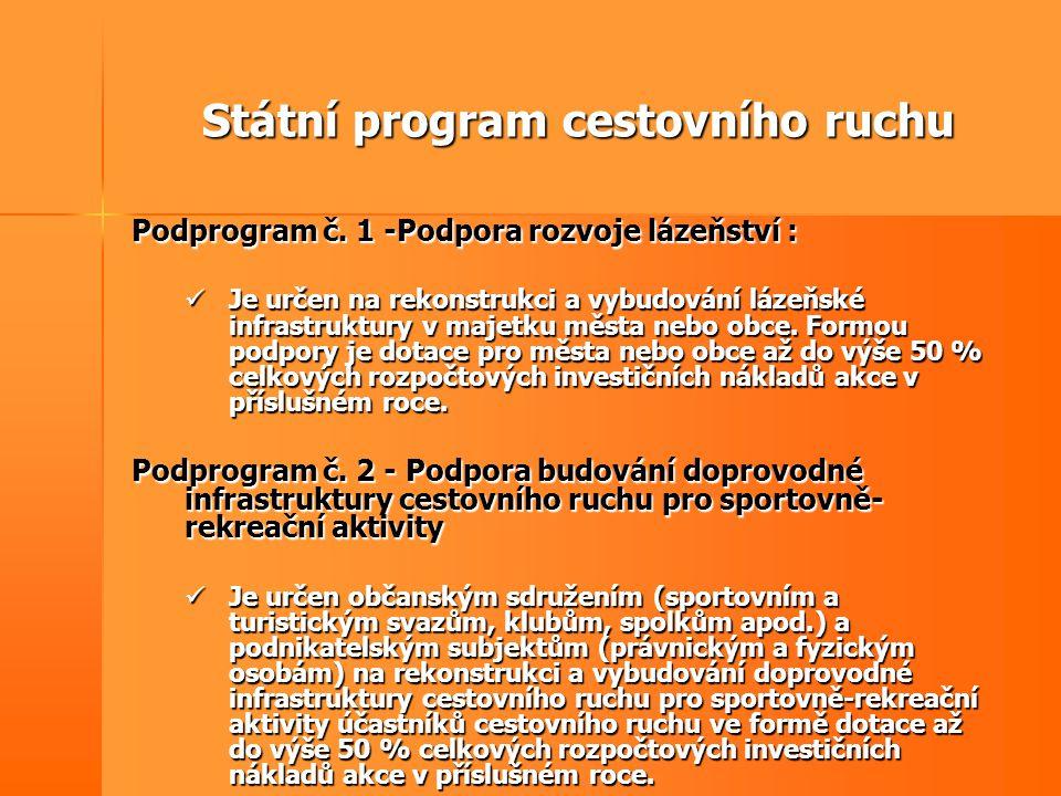 Státní program cestovního ruchu Podprogram č. 1 -Podpora rozvoje lázeňství :  Je určen na rekonstrukci a vybudování lázeňské infrastruktury v majetku
