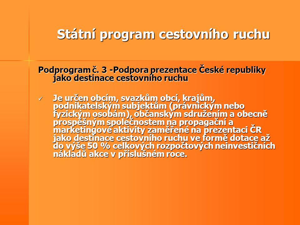 Státní program cestovního ruchu Podprogram č. 3 -Podpora prezentace České republiky jako destinace cestovního ruchu  Je určen obcím, svazkům obcí, kr
