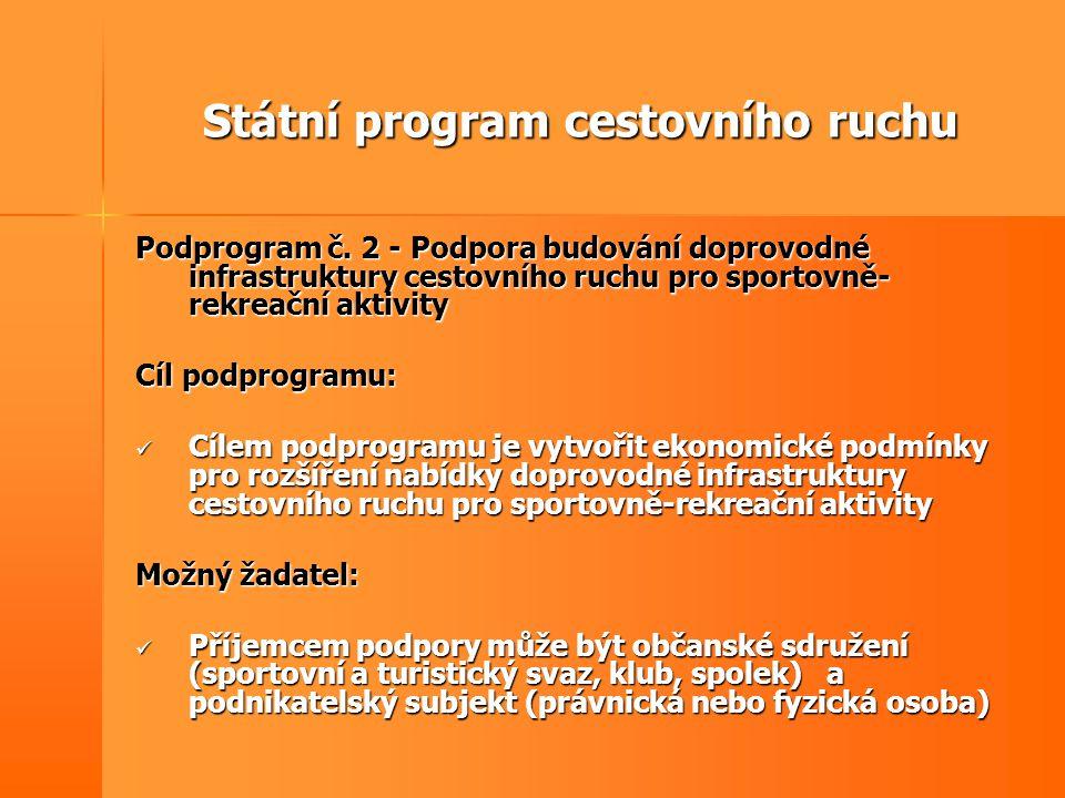Státní program cestovního ruchu Podprogram č. 2 - Podpora budování doprovodné infrastruktury cestovního ruchu pro sportovně- rekreační aktivity Cíl po
