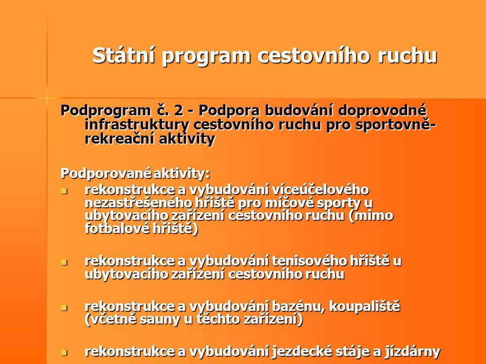 Státní program cestovního ruchu Podprogram č. 2 - Podpora budování doprovodné infrastruktury cestovního ruchu pro sportovně- rekreační aktivity Podpor