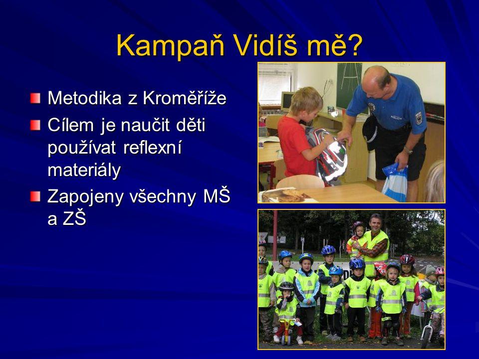 Kampaň Vidíš mě? Metodika z Kroměříže Cílem je naučit děti používat reflexní materiály Zapojeny všechny MŠ a ZŠ