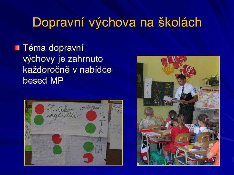 Dopravní výchova na školách Téma dopravní výchovy je zahrnuto každoročně v nabídce besed MP
