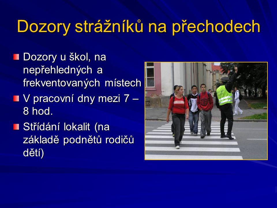 Dozory strážníků na přechodech Dozory u škol, na nepřehledných a frekventovaných místech V pracovní dny mezi 7 – 8 hod. Střídání lokalit (na základě p
