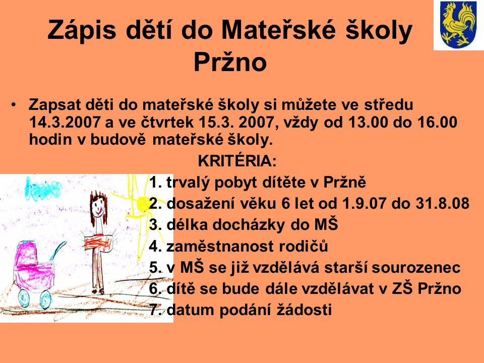 Zápis dětí do Mateřské školy Pržno •Zapsat děti do mateřské školy si můžete ve středu 14.3.2007 a ve čtvrtek 15.3. 2007, vždy od 13.00 do 16.00 hodin