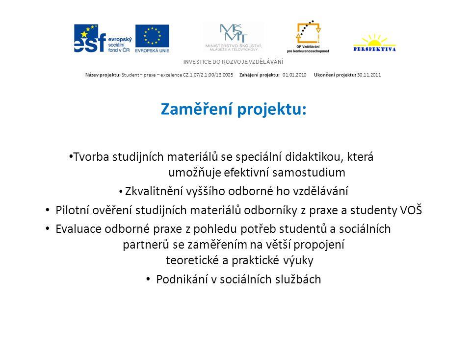 INVESTICE DO ROZVOJE VZDĚLÁVÁNÍ Název projektu: Student – praxe – excelence CZ.1.07/2.1.00/13.0005 Zahájení projektu: 01.01.2010 Ukončení projektu: 30