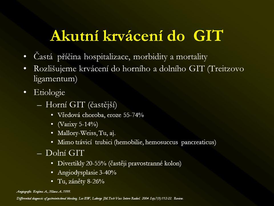 –Horní GIT •Duodenální ischemie (méně než 7%) –Vyšší riziko u pacientů po předešlém chir.výkonu či radioterapii •Embolizace hlavní hepatální arterie (dislokace spirálek) –Dolní GIT •Střevní ischemie –Lehká 10% (přechodná lehká bolest, asymptomatická stenosa) –Těžká 2% (symptomatická stenosa, střevní infarkt) –Standardní komplikace AG výkonů a kontrastních vyšetření Endovaskulární léčba komplikace Funaki B.