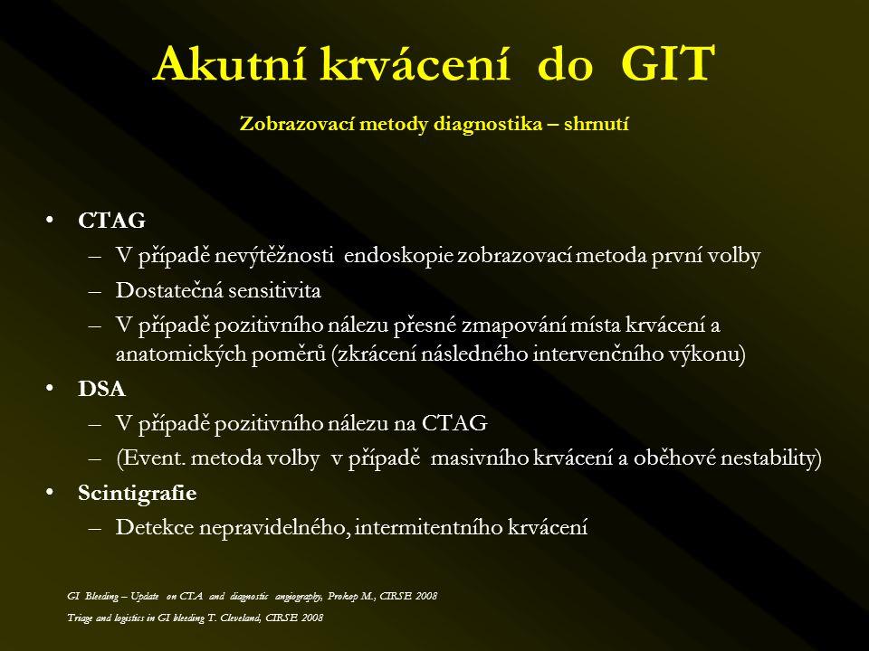 Akutní krvácení do GIT Zobrazovací metody diagnostika – shrnutí •CTAG –V případě nevýtěžnosti endoskopie zobrazovací metoda první volby –Dostatečná se