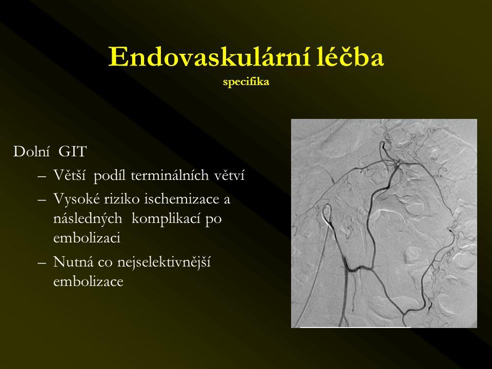 Dolní GIT –Větší podíl terminálních větví –Vysoké riziko ischemizace a následných komplikací po embolizaci –Nutná co nejselektivnější embolizace