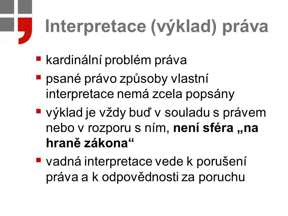 Interpretace (výklad) práva  kardinální problém práva  psané právo způsoby vlastní interpretace nemá zcela popsány  výklad je vždy buď v souladu s