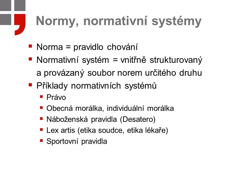 Normy, normativní systémy  Norma = pravidlo chování  Normativní systém = vnitřně strukturovaný a provázaný soubor norem určitého druhu  Příklady no
