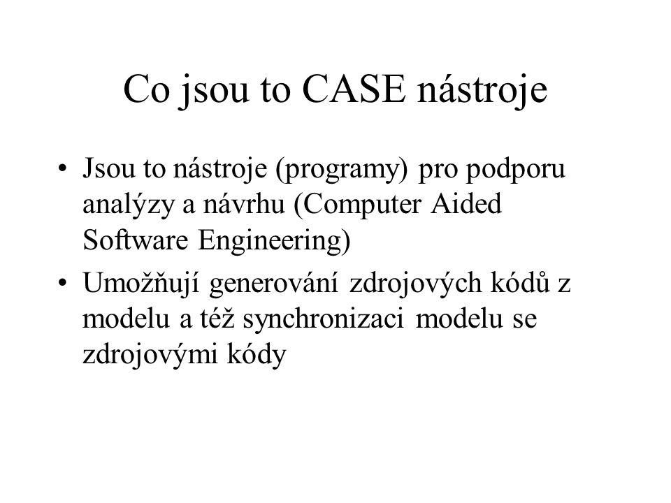 Co jsou to CASE nástroje •Jsou to nástroje (programy) pro podporu analýzy a návrhu (Computer Aided Software Engineering) •Umožňují generování zdrojových kódů z modelu a též synchronizaci modelu se zdrojovými kódy