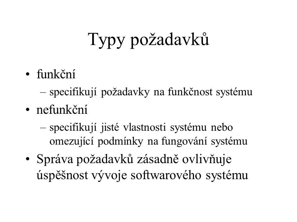 Typy požadavků •funkční –specifikují požadavky na funkčnost systému •nefunkční –specifikují jisté vlastnosti systému nebo omezující podmínky na fungov