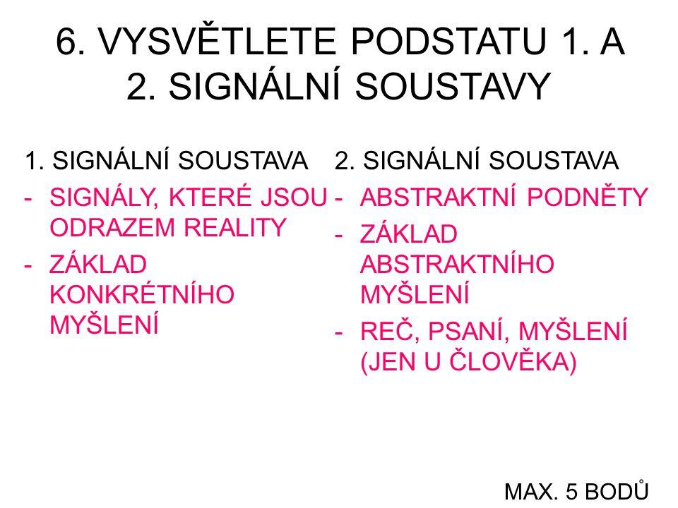 6.VYSVĚTLETE PODSTATU 1. A 2. SIGNÁLNÍ SOUSTAVY 1.