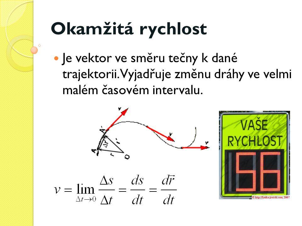 Okamžitá rychlost  Je vektor ve směru tečny k dané trajektorii. Vyjadřuje změnu dráhy ve velmi malém časovém intervalu.