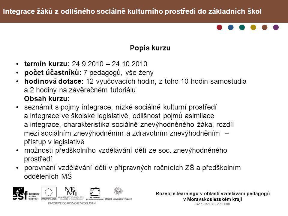 Integrace žáků z odlišného sociálně kulturního prostředí do základních škol Rozvoj e-learningu v oblasti vzdělávání pedagogů v Moravskoslezském kraji CZ.1.07/1.3.05/11.0008 Příprava kurzu Problém • nebylo přesně dáno, komu je kurz určen, učitelům jakých typů škol • výběr literatury k tvorbě e-learningového textu • tvorba kontrolních otázek a závěrečného testu Tvorba textu ke kurzu pro mě osobně byla přínosem, nakonec jsem při psaní použila mnoho poznatků a zkušeností ze své mnohaleté praxe a i přesto jsem si ujasnila a upřesnila některé pojmy z dané oblasti.