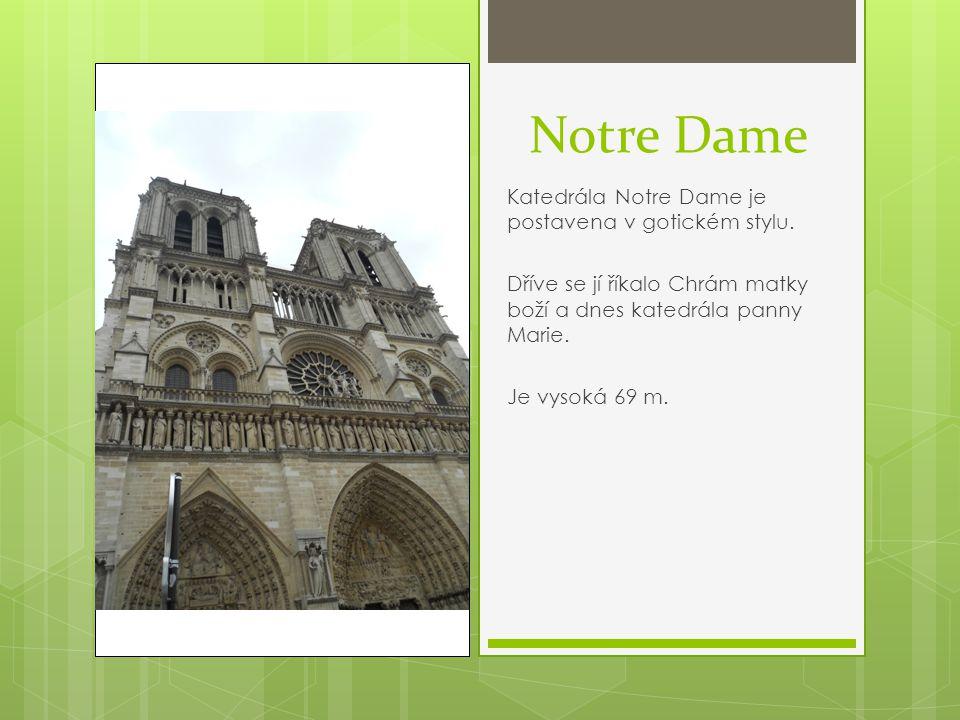 Notre Dame Katedrála Notre Dame je postavena v gotickém stylu. Dříve se jí říkalo Chrám matky boží a dnes katedrála panny Marie. Je vysoká 69 m.
