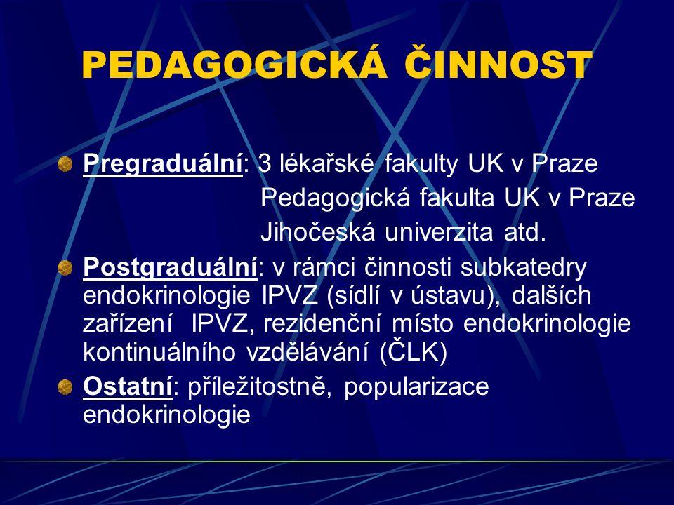 PEDAGOGICKÁ ČINNOST Pregraduální: 3 lékařské fakulty UK v Praze Pedagogická fakulta UK v Praze Jihočeská univerzita atd.