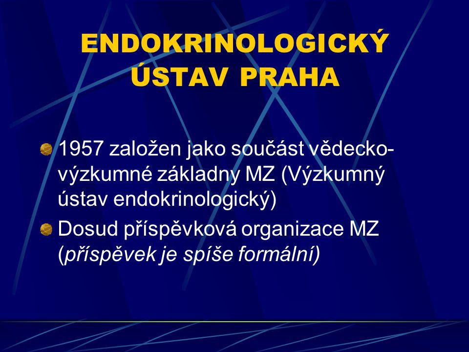 ENDOKRINOLOGICKÝ ÚSTAV PRAHA 1957 založen jako součást vědecko- výzkumné základny MZ (Výzkumný ústav endokrinologický) Dosud příspěvková organizace MZ (příspěvek je spíše formální)