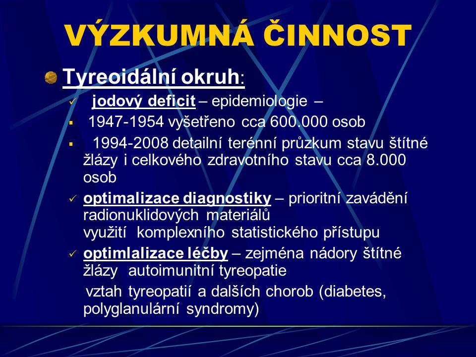 VÝZKUMNÁ ČINNOST Tyreoidální okruh :  jodový deficit – epidemiologie –  1947-1954 vyšetřeno cca 600.000 osob  1994-2008 detailní terénní průzkum st