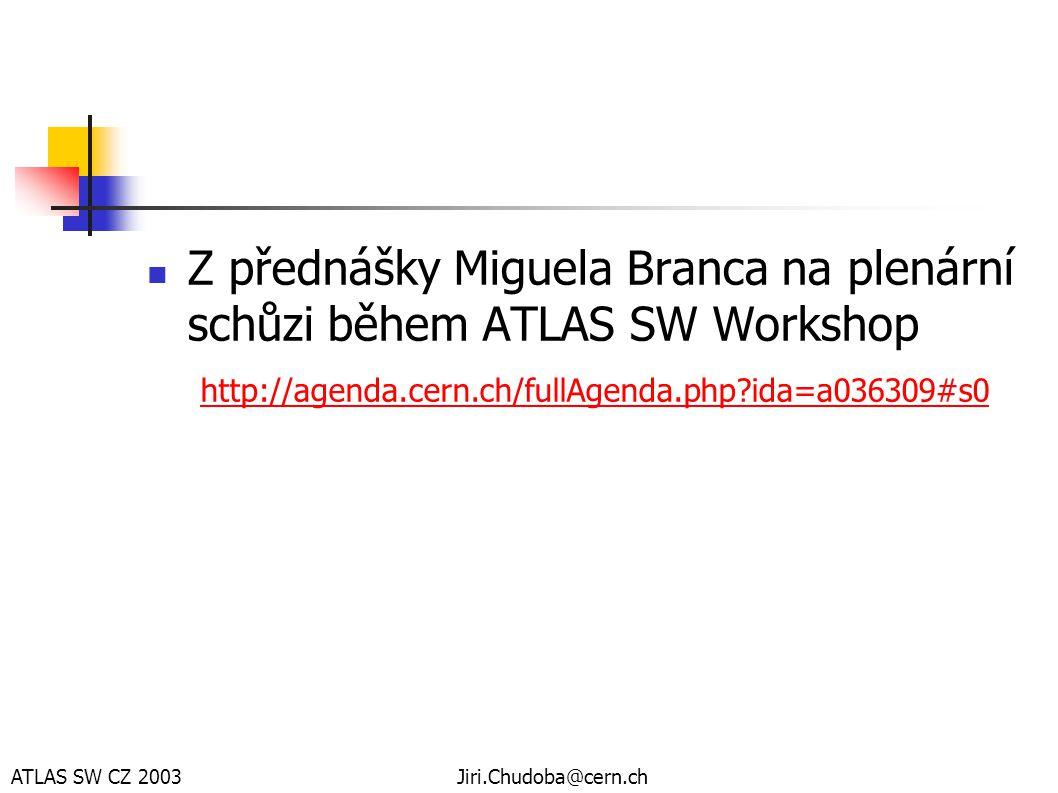 ATLAS SW CZ 2003Jiri.Chudoba@cern.ch  Z přednášky Miguela Branca na plenární schůzi během ATLAS SW Workshop http://agenda.cern.ch/fullAgenda.php?ida=