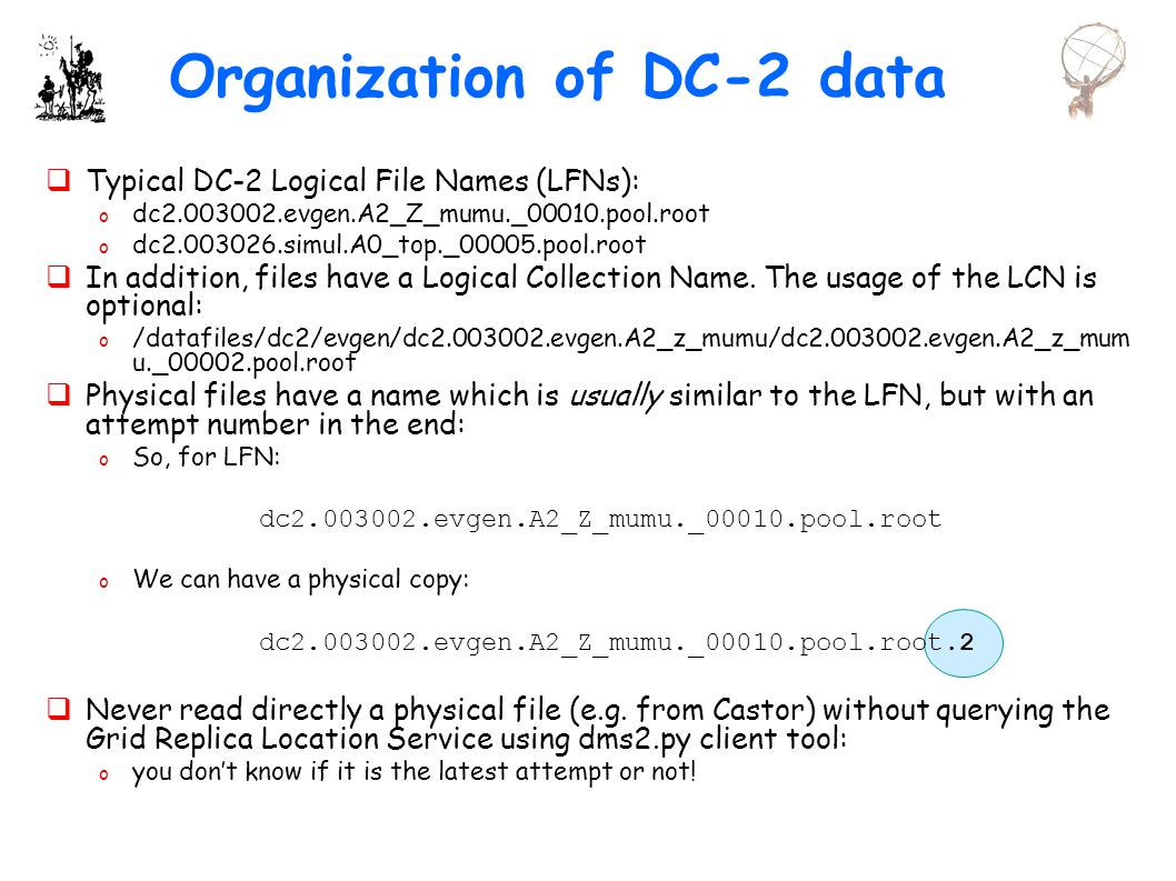 Organization of DC-2 data  Typical DC-2 Logical File Names (LFNs): o dc evgen.A2_Z_mumu._00010.pool.root o dc simul.A0_top._00005.pool.root  In addition, files have a Logical Collection Name.