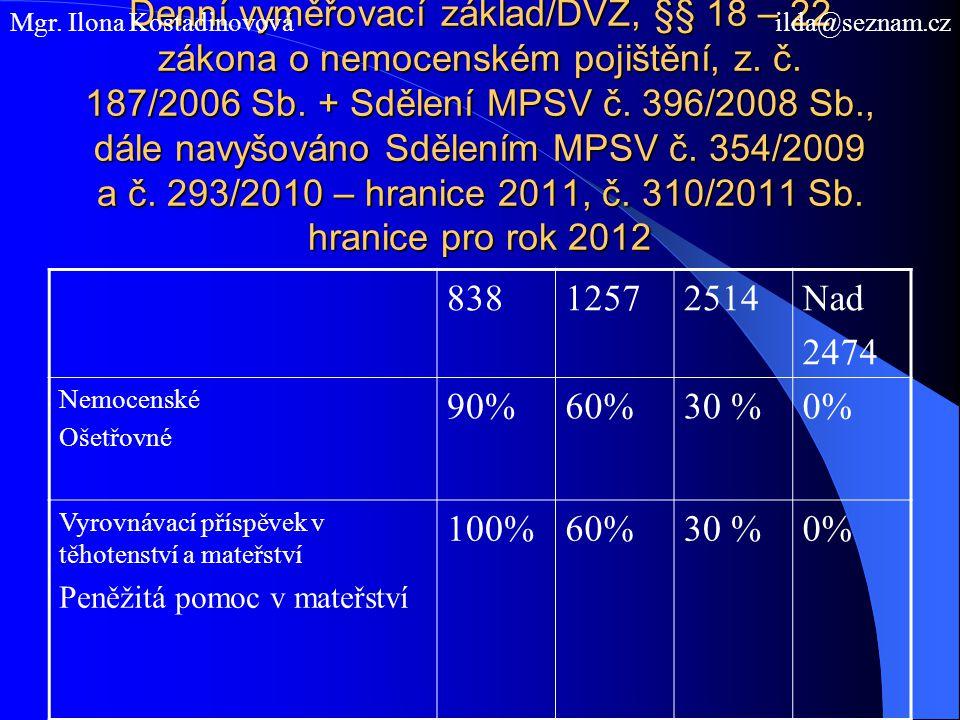 Denní vyměřovací základ/DVZ, §§ 18 – 22 zákona o nemocenském pojištění, z. č. 187/2006 Sb. + Sdělení MPSV č. 396/2008 Sb., dále navyšováno Sdělením MP