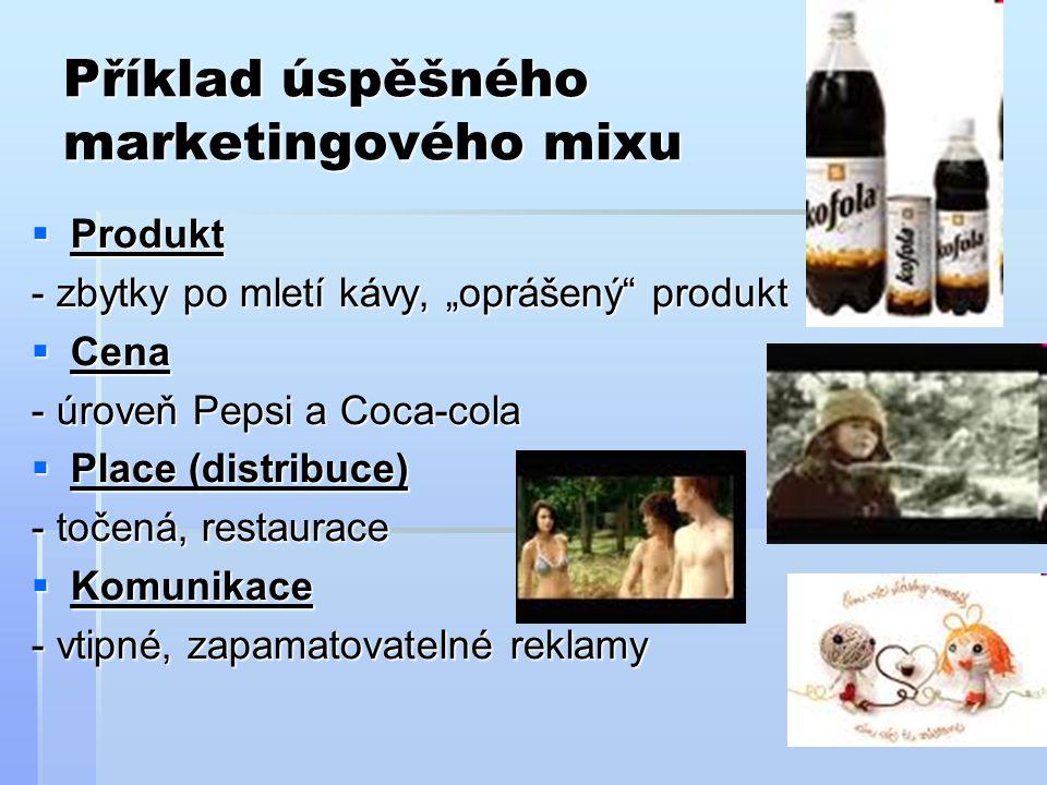 """Příklad úspěšného marketingového mixu  Produkt - zbytky po mletí kávy, """"oprášený"""" produkt  Cena - úroveň Pepsi a Coca-cola  Place (distribuce) - to"""