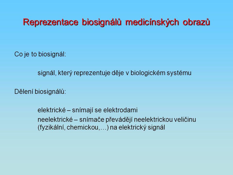 Reprezentace biosignálů medicínských obrazů Co je to biosignál: signál, který reprezentuje děje v biologickém systému Dělení biosignálů: elektrické –