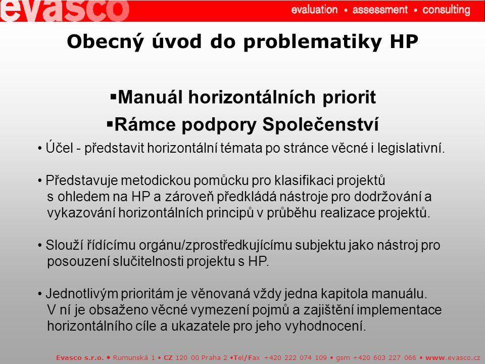 Obecný úvod do problematiky HP  Manuál horizontálních priorit  Rámce podpory Společenství Evasco s.r.o.