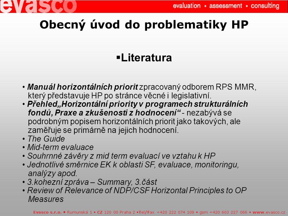 Obecný úvod do problematiky HP  Literatura Evasco s.r.o.