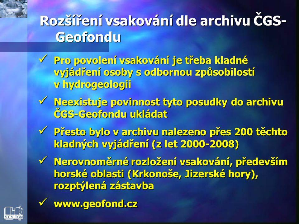  Pro povolení vsakování je třeba kladné vyjádření osoby s odbornou způsobilostí v hydrogeologii  Neexistuje povinnost tyto posudky do archivu ČGS-Geofondu ukládat  Přesto bylo v archivu nalezeno přes 200 těchto kladných vyjádření (z let 2000-2008)  Nerovnoměrné rozložení vsakování, především horské oblasti (Krkonoše, Jizerské hory), rozptýlená zástavba  www.geofond.cz Rozšíření vsakování dle archivu ČGS- Geofondu