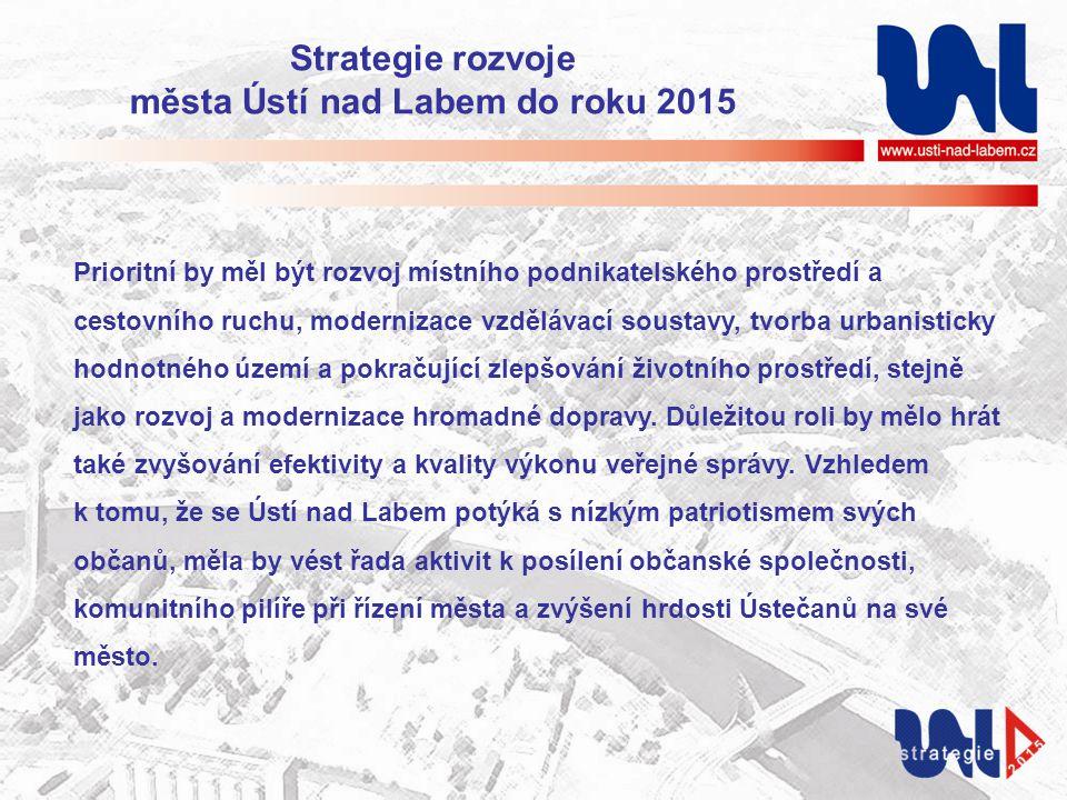 Strategie rozvoje města Ústí nad Labem do roku 2015 Prioritní by měl být rozvoj místního podnikatelského prostředí a cestovního ruchu, modernizace vzdělávací soustavy, tvorba urbanisticky hodnotného území a pokračující zlepšování životního prostředí, stejně jako rozvoj a modernizace hromadné dopravy.