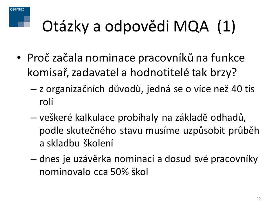 Otázky a odpovědi MQA (1) • Proč začala nominace pracovníků na funkce komisař, zadavatel a hodnotitelé tak brzy? – z organizačních důvodů, jedná se o