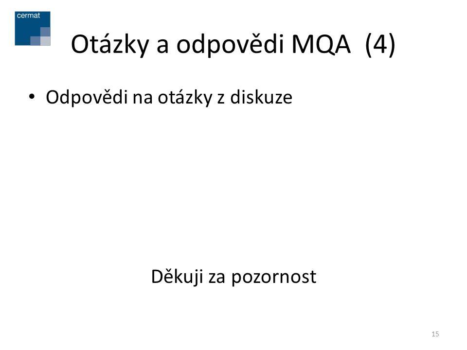 Otázky a odpovědi MQA (4) • Odpovědi na otázky z diskuze Děkuji za pozornost 15